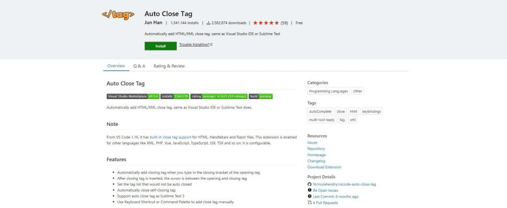 best visual studio extensions - Auto Close Tag