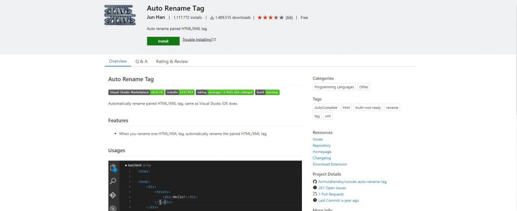 best visual studio extensions - Auto Rename Tag