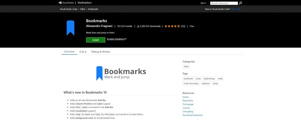 best visual studio extensions - Bookmarks