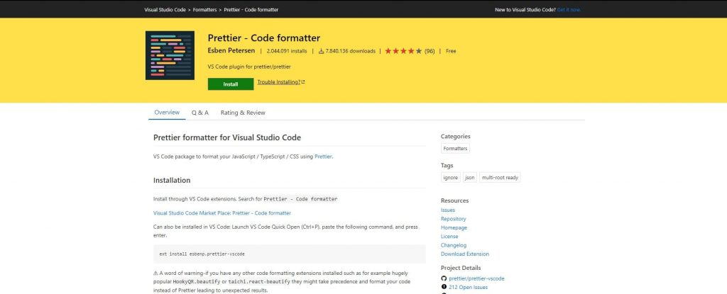 best visual studio extensions - Prettier