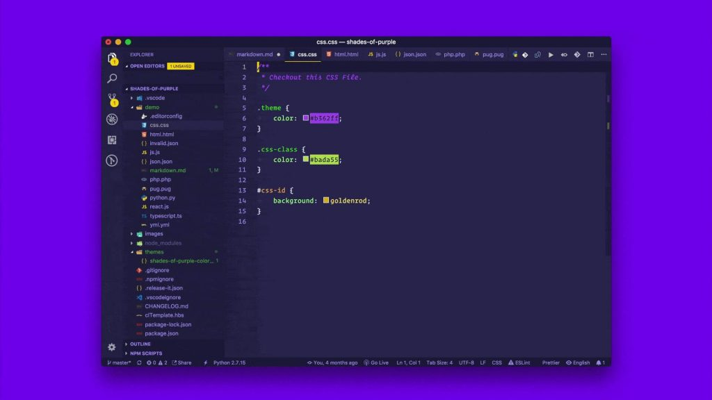 best visual studio extensions - Shades of Purple